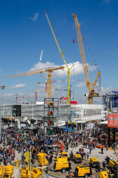 Part of the bauma outdoor exhibition area