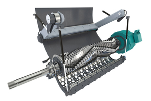 """<div class=""""bildtext_en"""">2 With infinitely adjustable pusher speed, the improved curved pusher ensures optimum shredding, even with heavy or very light input materials</div>"""
