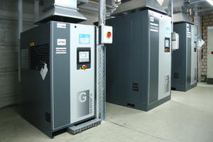 4 The three new GA screw compressors all feature the latest variable speed drive technology (VSD<sup>+</sup>). This means that <br />the control air needed for cylinders and pumps, for example on vacuum conveyors, is produced especially efficiently