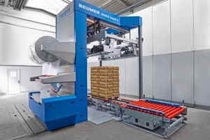 The Beumer stretch hood covers full pallets with a thin film hood<br />