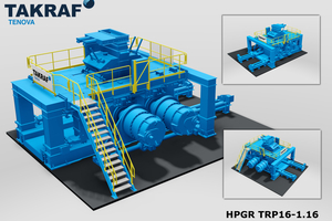 A scale model of a High-Pressure Grinding Roll (HPGR) capable of handling up to 2400 t/h<br />
