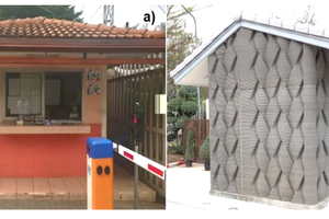 9a Former conventional guardhouse built by the traditional construction process 9b The AM woven pattern, single-layer wall guardhouse