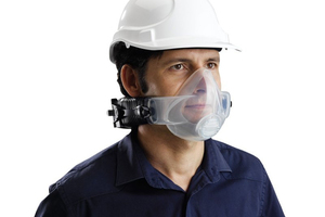 """<div class=""""bildtext_en"""">The CleanSpace half mask made can be easily connected to the fan unit </div>"""
