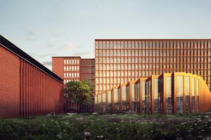 "<div class=""bildtext_en"">FLSmidth new campus visualisation of COBE's winning proposal</div>"