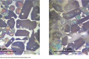A2 Photomicrographs of clinker showing clearly defined lenticular (elongated) alite crystals