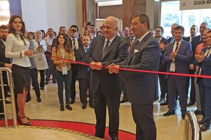 1 The ceremonial opening of the exhibition by Dr. Tamer Saka, Chairman of TÇMB & TÇMB Board Members, and Suat Çalbiyik, Deputy Chairman of TÇMB (f.l.t.r.)