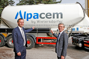 8 Bernhard Auer and Lutz Weber (right) pursue the goal of raising the profile of the new umbrella brand Alpacem in the Alps-Adriatic region