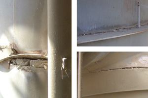 3 Torn steel construction due to alkali growth of the refractory lining