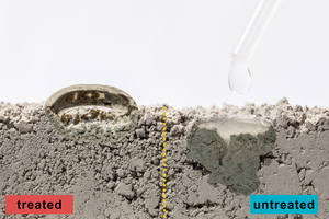 5 Image showing water droplets on dry cement powder treated with an organosilicon hydrophobic agent on the left and untreated powder on the right. The water droplet on the right-hand side immediately seeps into the lower layers of the untreated powder, while the droplet on the left keeps afloat on the hydrophobized base without wetting the cement grains beneath it. Yellow dashed line denotes the boundary between the treated and untreated cement