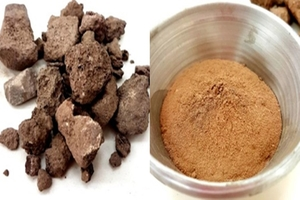1 Natural pozzolan before and after grinding; on the left is the raw natural pozzolan and on the right is the one used in the study