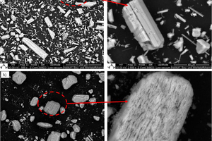 2 SEM images of different types of hemihydrates: a)	α-HH steam autoclave and c)	β-HH with low and high magnification