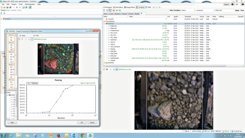 Rock analysis on the moving conveyor belt - Cement Lime Gypsum