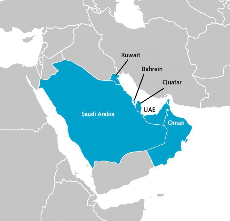 1 map of the gcc countries