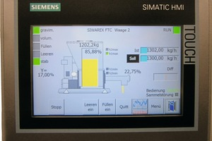 """<div class=""""bildtext_en"""">3 The touch panel in the control cabinet door for checking cement mixtures is not only used for visualization of measured values, but also enables operation of the loss-in-weight scales locally for maintenance work</div>"""