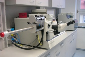 """<span class=""""bildunterschrift_hervorgehoben"""">13</span>MED 020 with docking station configured as freeze fracturing, etching and coating system combined with a light microscope<br />"""