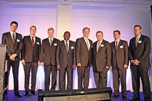 Von links: Niklas und Walter Haver (Haver &amp; Boecker), Prof. Dr. Georg Unland, Dr. Aliko Dangote, Dr. Martin Wansleben, Dr. Reinhold Festge, Dr. Fabian Festge und Florian Festge (Haver &amp; Boecker)<br />