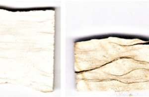 "<div class=""bildtext_en"">8 Images of limestone (left) and lime of origin W after burning at 1000 °C (2nd from left.), 1300 °C (3rd from left) and 1380 °C (right)</div>"