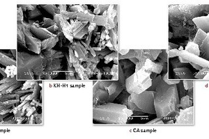 """<div class=""""bildtext_en"""">4 SEM micrograph of hydrated ß-hemihydrate from calcined FGD gypsum with or without retarders (X 5000)</div>"""