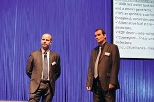 Jaroslaw Sawecki (Cemex Polen, links) stellte den Trommeltrockner aus dem Zementwerk Chelm vor. Stefan Schäfer (VDZ, rechts) moderierte die Session.