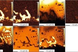 """<span class=""""bildunterschrift_hervorgehoben"""">15</span>1.4828, 200 h, 1000°C, Cl<sub>2</sub>, microprobe<br />"""