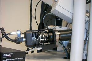 """<span class=""""bildunterschrift_hervorgehoben"""">7</span>EBSD camera with an integrated Forward Scatter Detector (FSD) installed at NanoSEM<br />"""