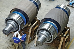 "<div class=""bildunterschrift_en""><span class=""bu_ziffer_blau"">2</span> Each roll consisting of a core, tire and 2 self-aligning roller bearings has a diameter of 1800 mm and weighs 52 700 kg. The bearings have a bore diameter of 850 mm and weigh 2900 kg</div>"