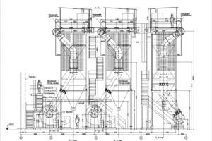 Vormontierte Filterkopfmodule in einem Elektrofilter-Gehäuse, Nutzung des oberen Gehäusebereichs als Penthouse<br />