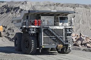 The Liebherr T 264 has a payload of 218 t and is powerd via diesel electric wheel motors