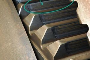 Das Original-Bearbeitungsmuster auf dem Planetenrad der zweiten Stufe ist noch sichtbar<br />