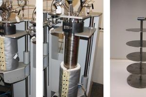 Experimenteller Aufbau für die Langzeitlagerung von Zementprobenkörpern in scCO<sub>2</sub>; links und Mitte: 2-Liter-Autoklaven; rechts: Edelstahlgestell für die Platzierung der Probenkörper im Autoklaven