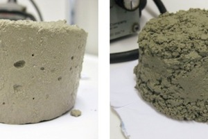 """<span class=""""bu_ziffer_blau"""">9</span> Appearance of the cement paste after the water retention test; left: cement pre-hydrated for 1&nbsp;day containing 0.3 mass% MHEC; right: cement pre-hydrated for 3&nbsp;days containing 0.2&nbsp;mass% MHEC"""