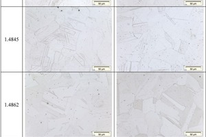 """<span class=""""bildunterschrift_hervorgehoben"""">2</span>The initial state of the tested materials under the optical microscope; grinded and etched, 500-times magnified (500x)<br />"""