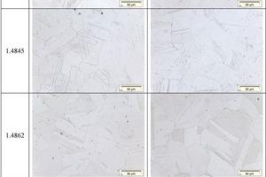 Ausgangszustand der getesteten Werkstoffe unter dem Lichtmikroskop, geschliffen &amp; geätzt, 500-fache Vergrößerung (500x)<br />