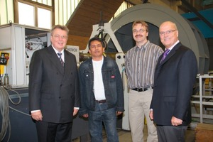 From left: Dr. Reinhold Festge (managing director of Haver &amp; Boecker), Nonito Estrada (service mechanic for Haver Middle East), Peter Homann (Venti Oelde, order processing department for the business unit ventilators) and Ralf Dörner (managing director of Venti Oelde) <br />