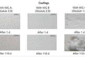 """<div class=""""bildtext_en"""">4 Coatings (thickness about 0.4 cm) on fiber cement plates after 1 and 110 days in a laboratory atmosphere</div>"""
