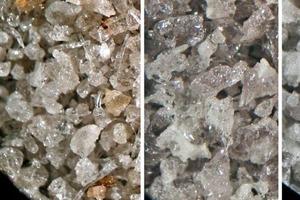 Links: Industriell erzeugter Hüttensand D (P<sub>ges.</sub> = 6,7 Vol.-%). Mitte und rechts: ImLabor erzeugte Hüttensande – HS D.0 (P<sub>ges.</sub>= 5,8 Vol.-%), mittig, undHSD.9 (P<sub>ges.</sub> = 17,9 Vol.-%), rechts. Glasgehalte jeweils 100Vol.-%