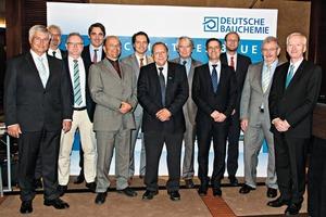"<div class=""bildtext_en"">1 The newly elected Deutsche Bauchemie Board of Management (from right): Johann J. Köster, Dr. Erhard Jacobi, Thorsten Schneider, Dr. Christoph Riemer, Dr.-Ing. Claus-Michael Müller, Dr. Josef Weichmann, Dr. Christoph Hahner, Jan-Karsten Meier, Dirk Sieverding, Joachim Straub, Andreas Wilbrand and General Manager Norbert Schröter (not shown on this photo: Dr. Rüdiger Oberste-Padberg)</div>"