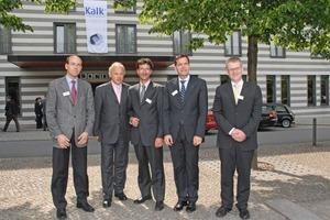 Von links: Udo Kremer (Geschäftsführer), Martin Ogilvie (Hauptgeschäftsführer), Moritz Iseke (stellvertretender Vorsitzender), Michael Liell (Vorsitzender), Dr. Werner Fuchs (Geschäftsführer)<br />