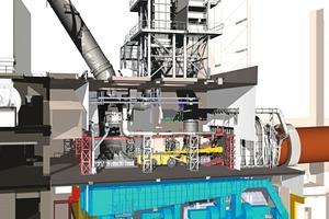 3D-Planung – Längsschnitt durch das Klinkerkühler-Gebäude. <br />