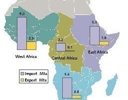"<span class=""bildunterschrift_hervorgehoben"">3</span>Cement imports and exports in Sub-Saharan Africa 2008 (One<br />Stone)<br />"