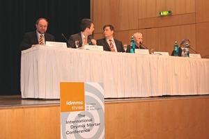 """<span class=""""bildunterschrift_hervorgehoben"""">2</span>Panel of the first session showing (from the left): Prof. Dr. Johann Plank, Dr. Hubert Motzet, Steffen Schneider and Dr. André Schiegg<br />"""