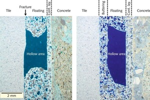 "<div class=""bildtext_en"">6 Thin section with blue-coloured hollow areas and air voids. A­pplication by the floating method on the left. Note the ad­hesion crack starting at the edge of the hollow. A­pplication by the combined buttering-floating method on the right</div>"