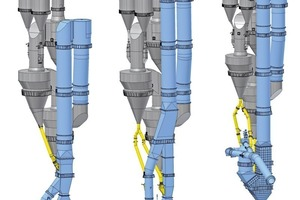 """<span class=""""bu_ziffer_blau"""">1</span> PYROCLON calciner series. From left to right: PYROCLON R, PYROCLON R Low NO<sub>x</sub>, PYROCLON R CC (Combustion Chamber)"""