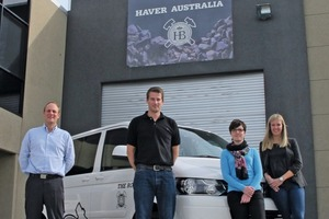 The Haver Australia team with (l to r) Managing Director René Dechange, Dominik Vennewald, Gabriela Emanuele and Larissa Kneissl in front of the new subsidiary company's stock area