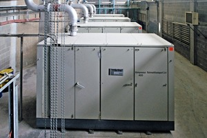 """<span class=""""bu_ziffer_blau"""">1</span> Over 50 compressors such as these screw compressors supply the cement plant with compressed air"""