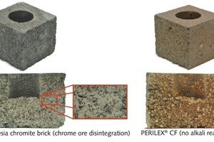 "<div class=""bildunterschrift_en""><span class=""bu_ziffer_blau"">9</span> Alkali cup corrosion test with PERILEX<sup>®</sup> CF and a magnesia chromite brick at 1350 °C </div>"