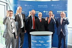 "<div class=""bildtext_en"">Standing together for more workplace safety (from left): Helmut Ehnes, Prevention Manager at BG RCI; Christoph Weise, BVK Syndic; Martin Ogilvie, BVK Managing Director; Hans-Peter ­Thomas, BVK Workplace Safety Committee Chairman; Ulrich Meesmann, Member of BG RCI Executive Board; and Wolfgang Pichl, Head of BG RCI Division 1 Raw Materials – Building Materials</div>"