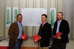 "<span class=""bildunterschrift_hervorgehoben"">2</span>Mag. Rudolf Zrost, Dr. Günter Waldl and project manager Klaus Czepl with the construction plan (from left)<br />"