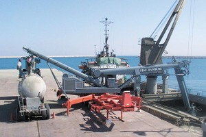 """<div class=""""bildunterschrift_en"""">The is road-mobile ship unloader from IBAU is mounted on a trailer</div>"""