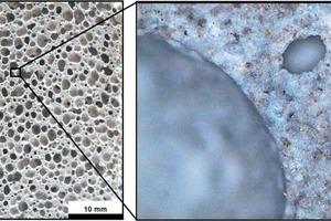 Porenstruktur von lufterhärtendem, chemisch aufgetriebenem Schaumbeton
